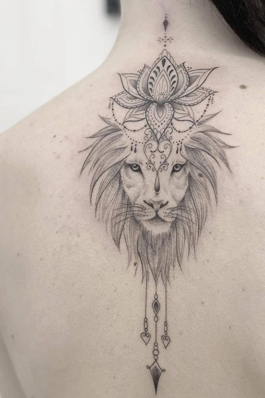 Lion lotus tattoo