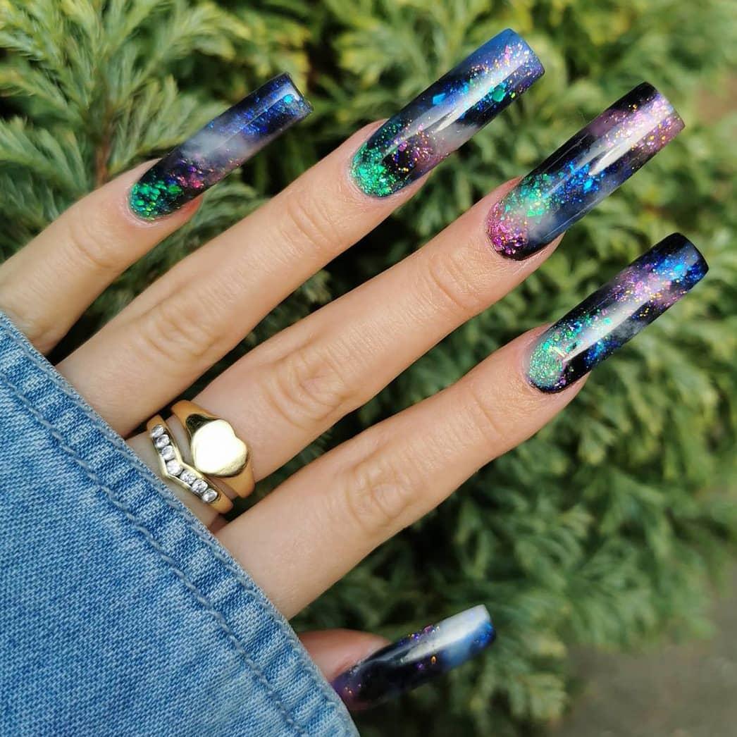 Long Acrylic Galaxy Nails
