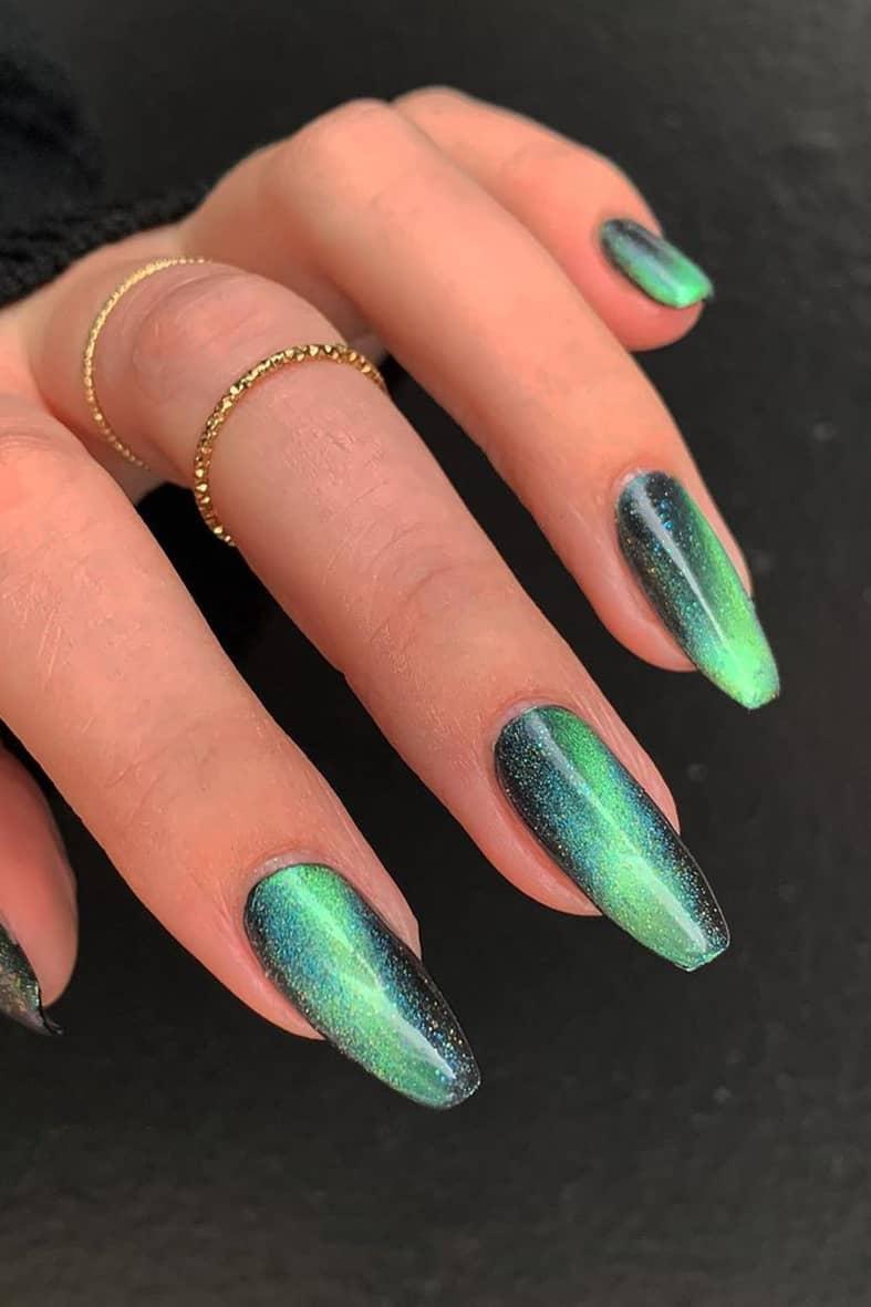 Green Galaxy Long Nails