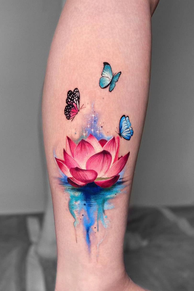 Lotus tattoo with butterfly