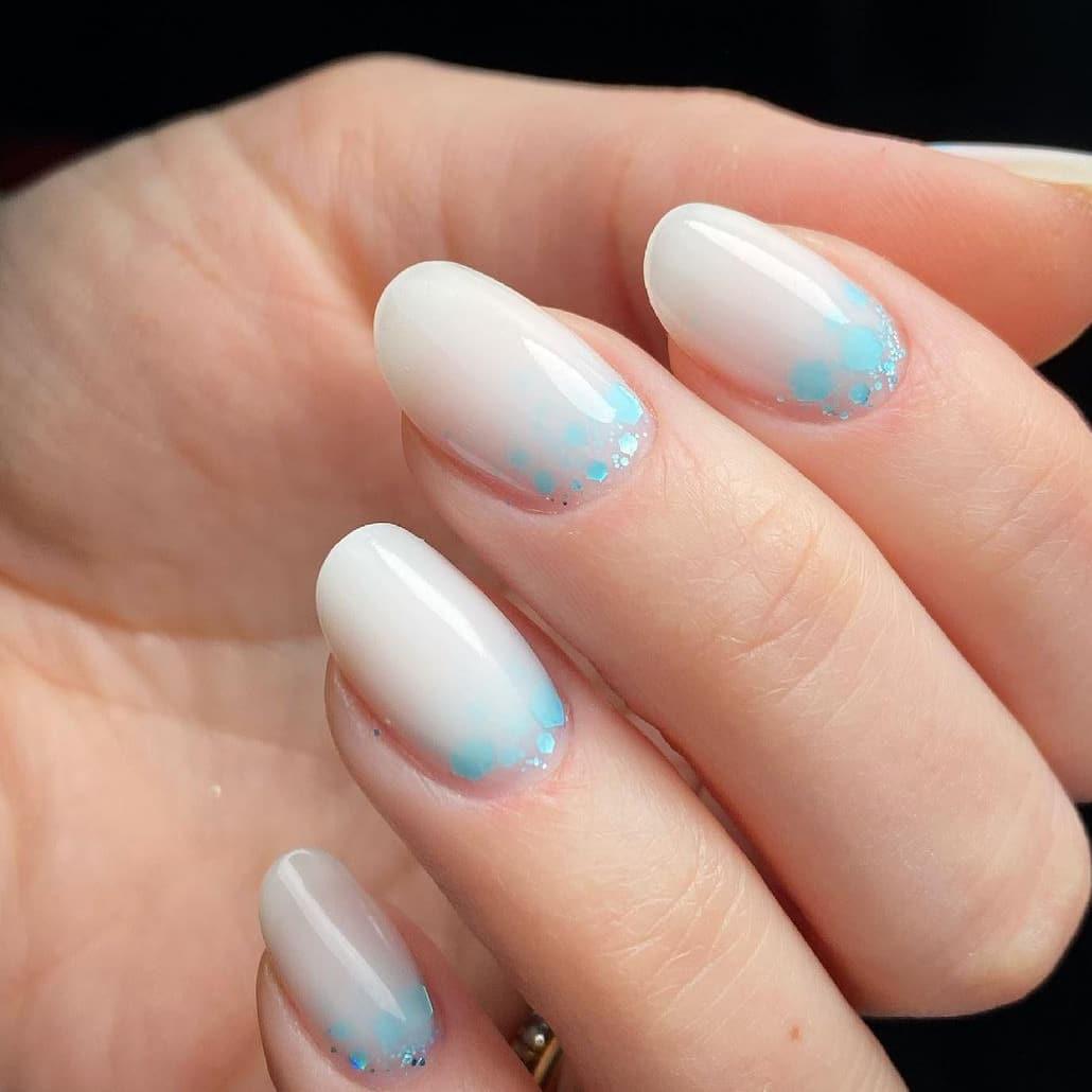 Milky white oval short nails