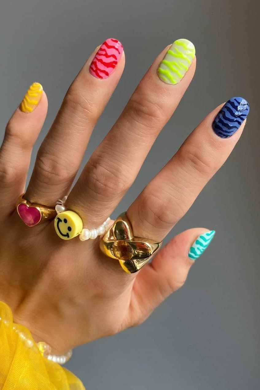 Neon oval nails