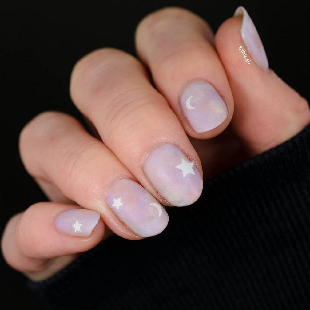 Pastel matte galaxy short nails