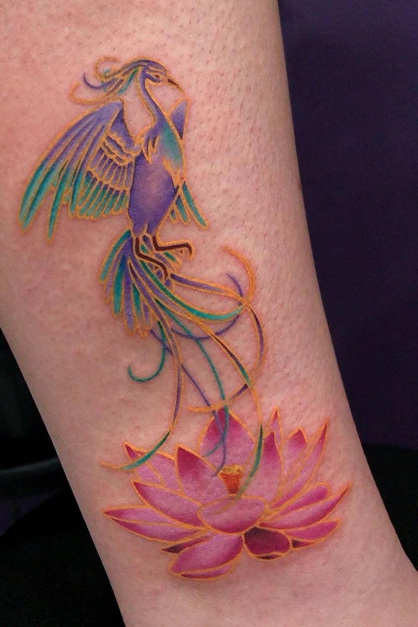Phoenix golden Lotus Tattoo