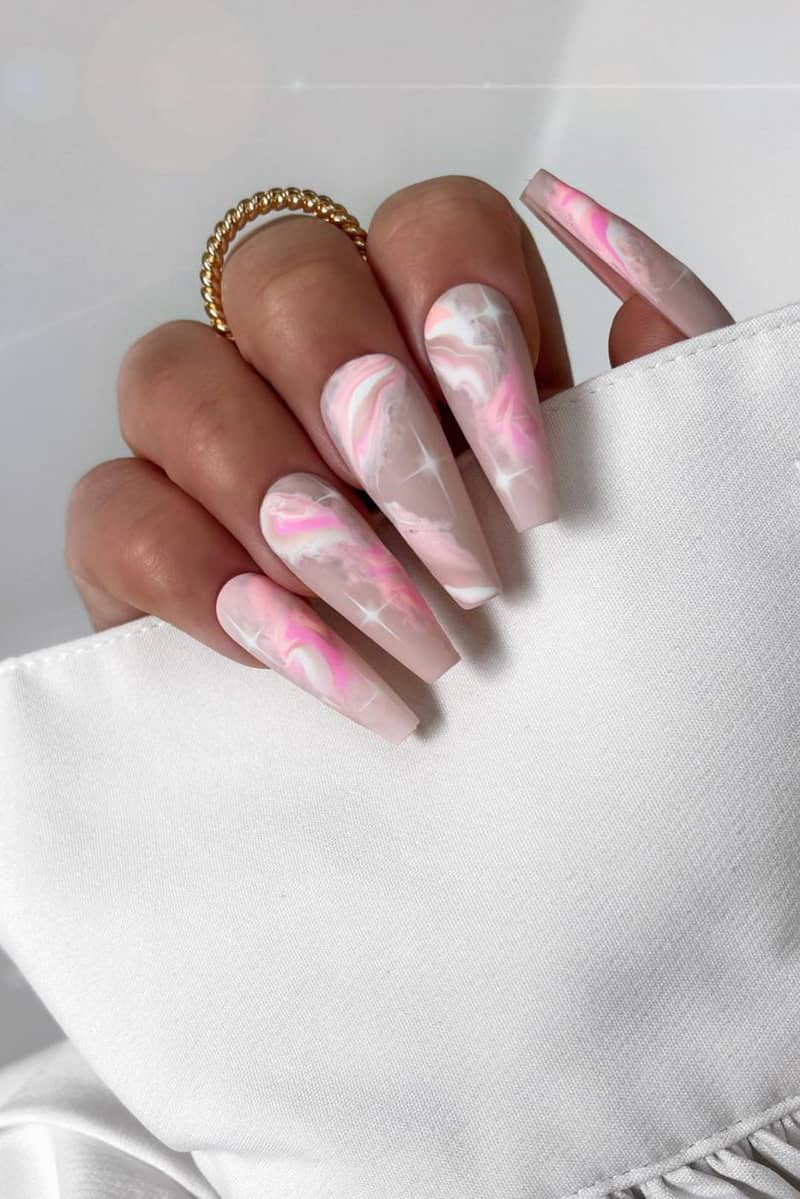 Pink Long Coffin Galaxy Nails