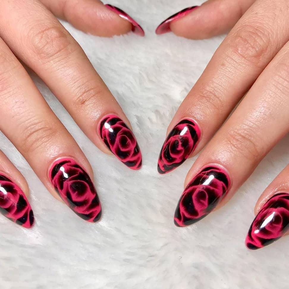 Pink and black rose nails