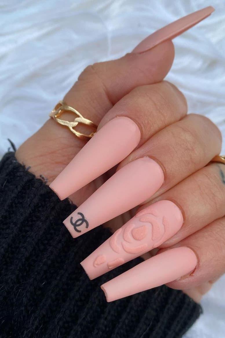 Pink long rose coffin nails
