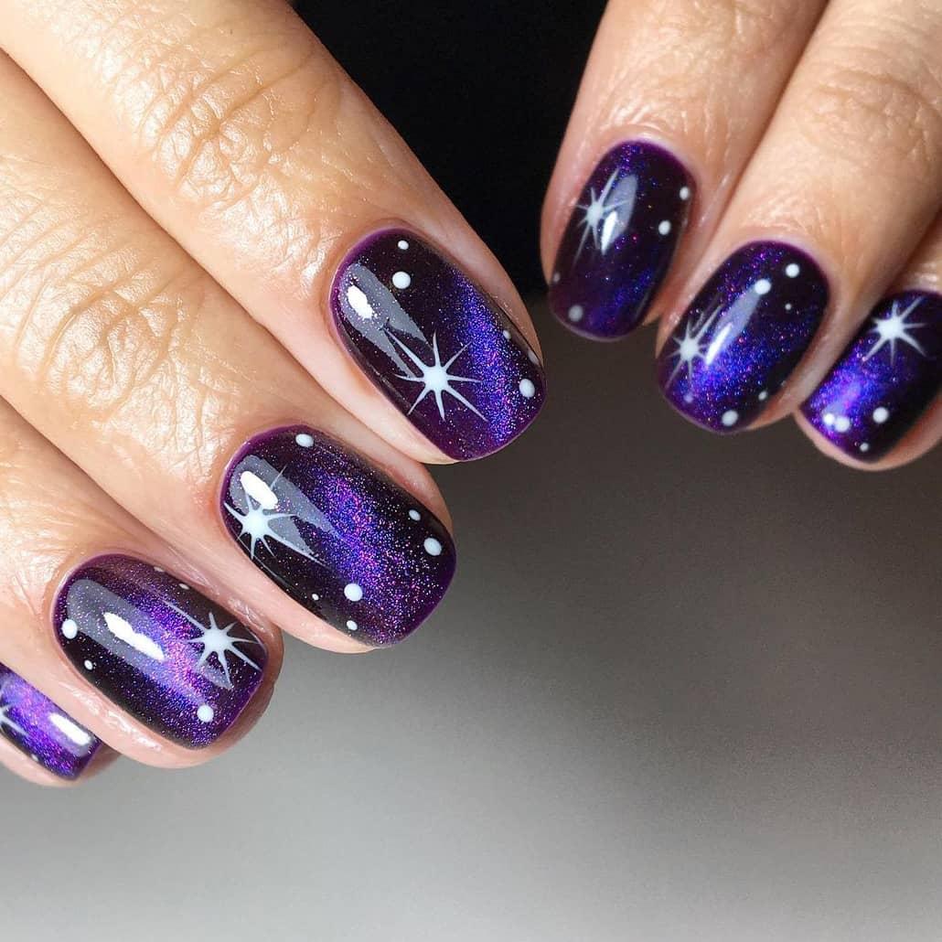 Purple Galaxy Short Nails