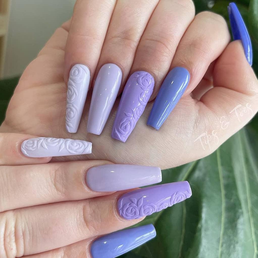 Purple gradient rose short nails
