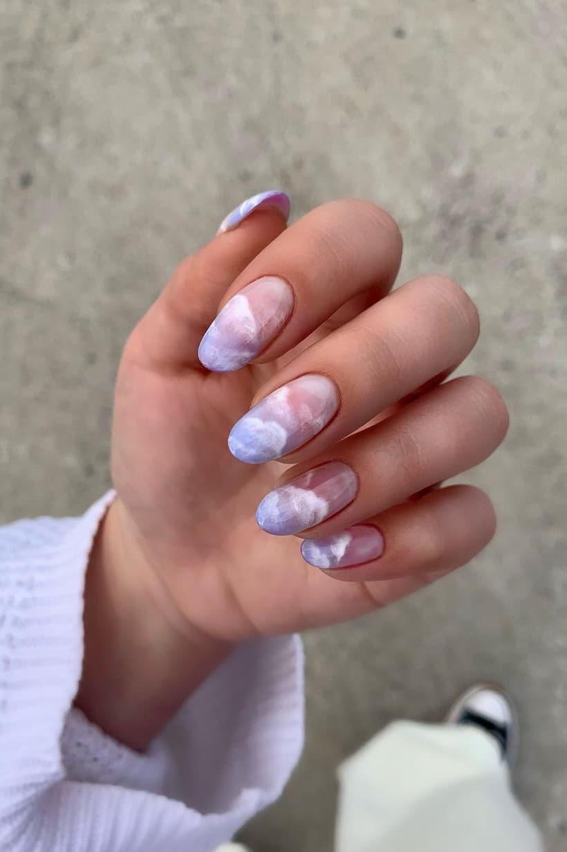 Purple oval cloud nails