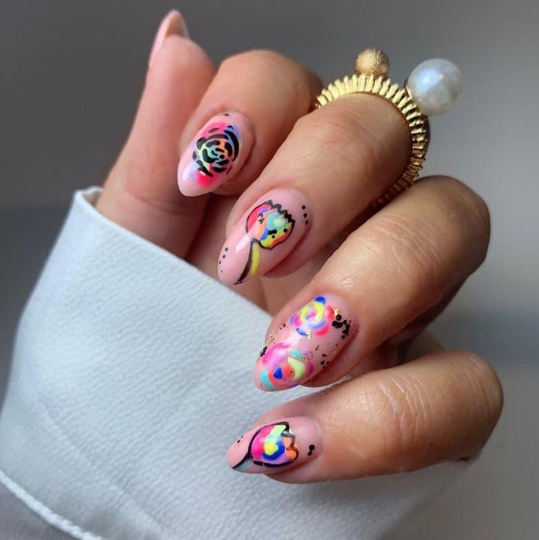 Rainbow rose nails