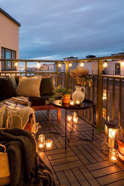 Romantic small balcony night atmosphere