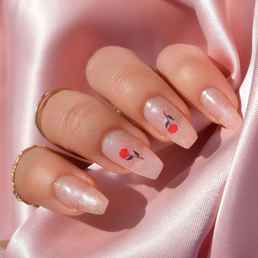 Shiny simple rose nails