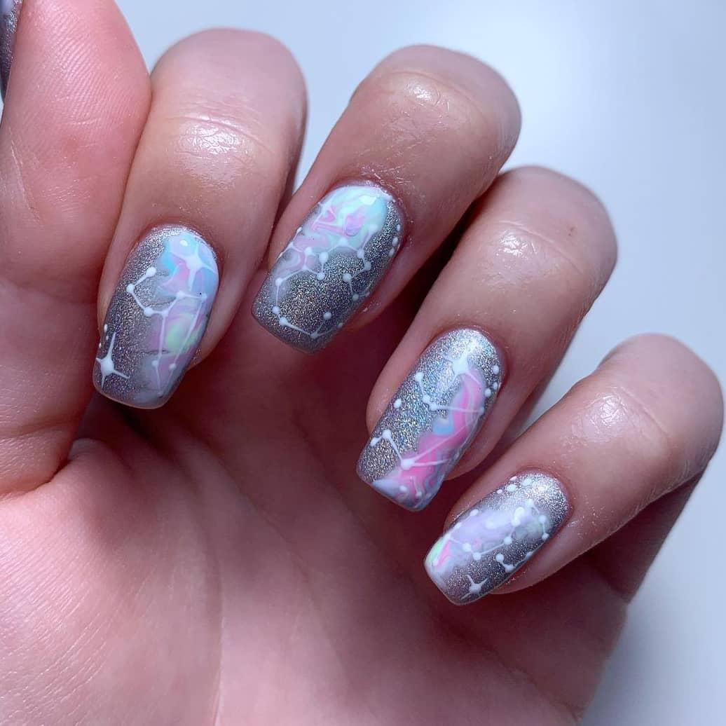 Silver Galaxy Nails
