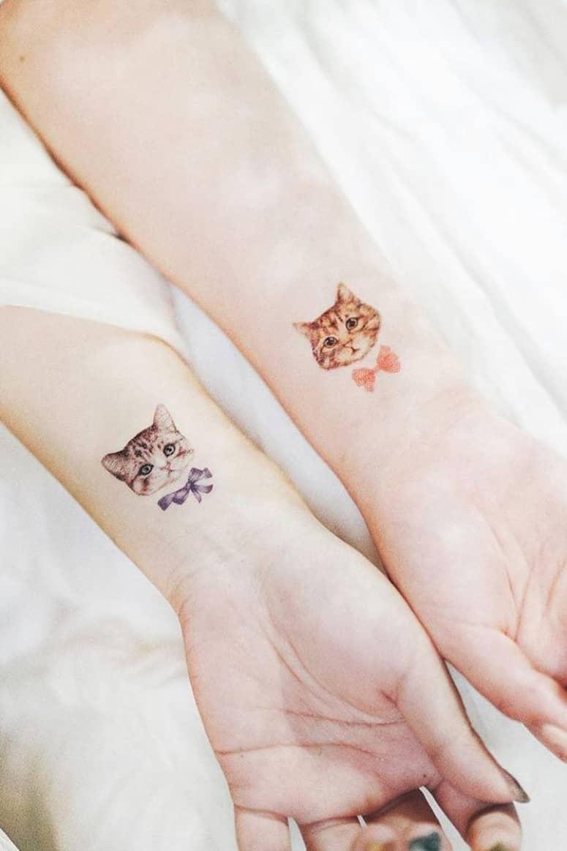 Temporary cute cat tattoo