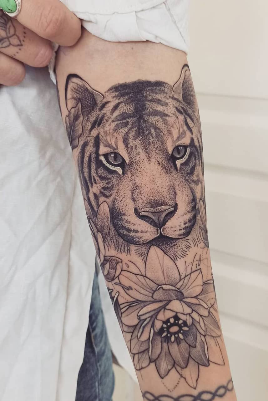 Tiger lotus tattoo