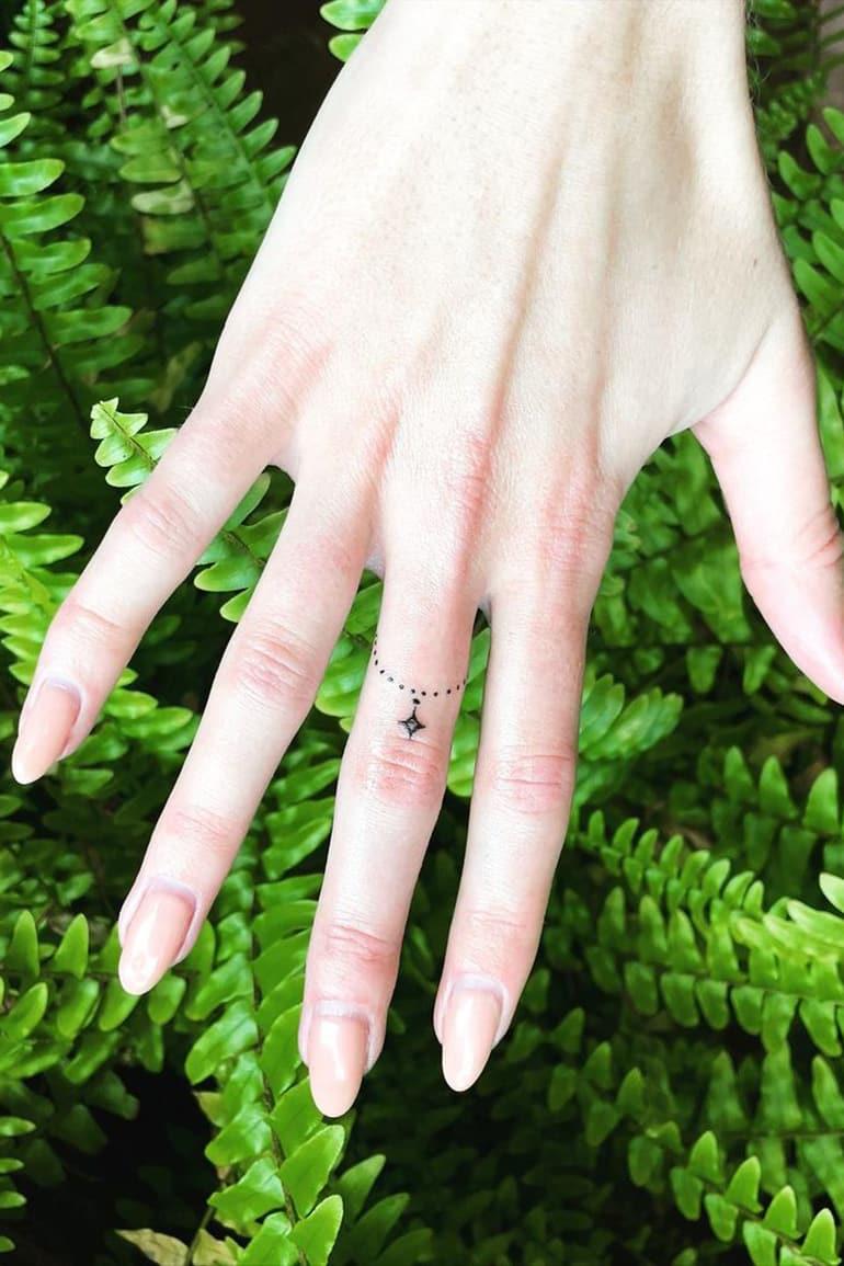 Tiny tattoo on finger