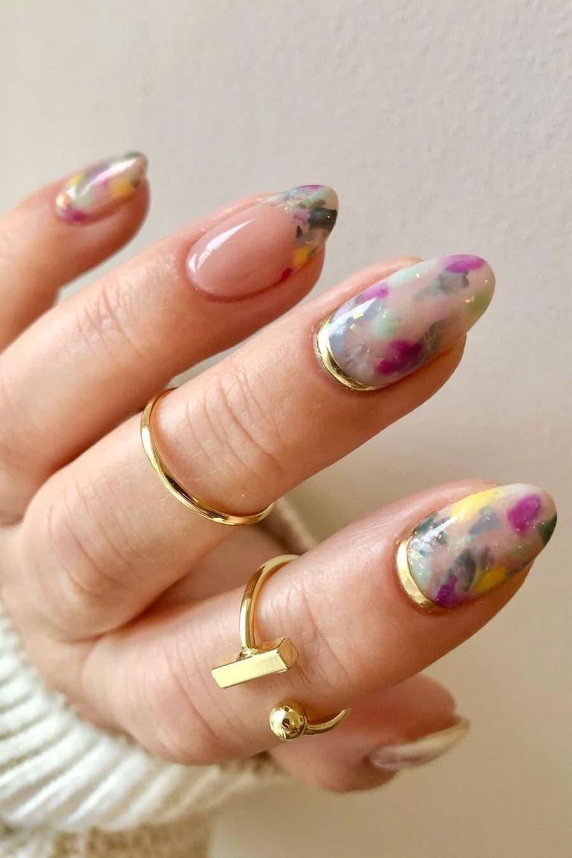 Unique rainbow oval nails