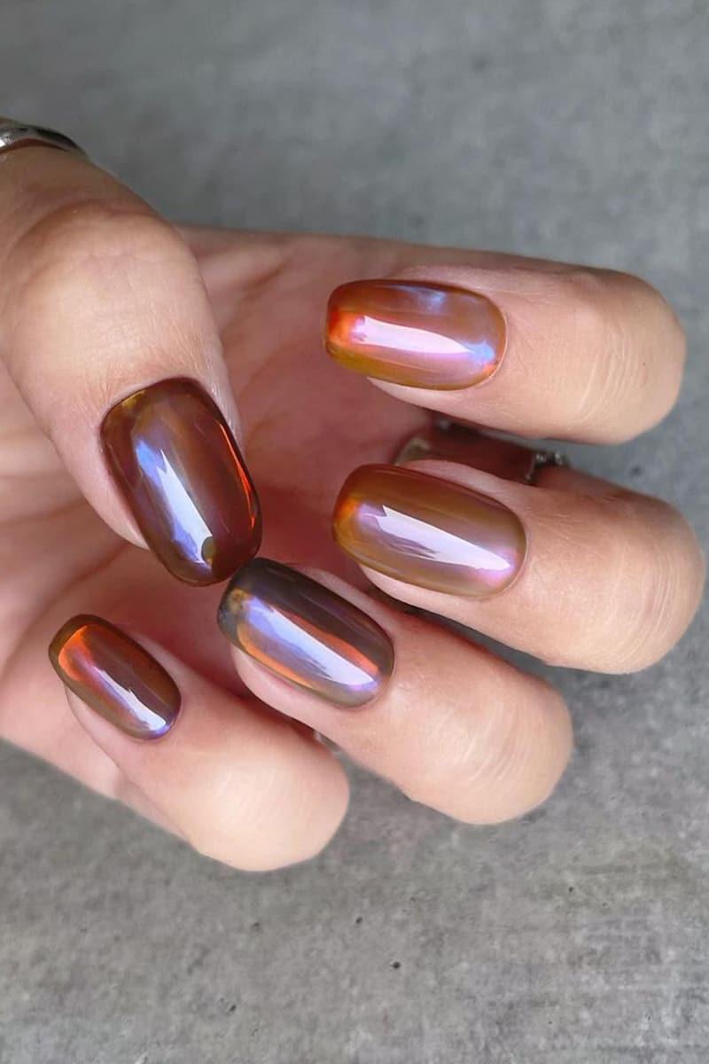 Amber autumn nails