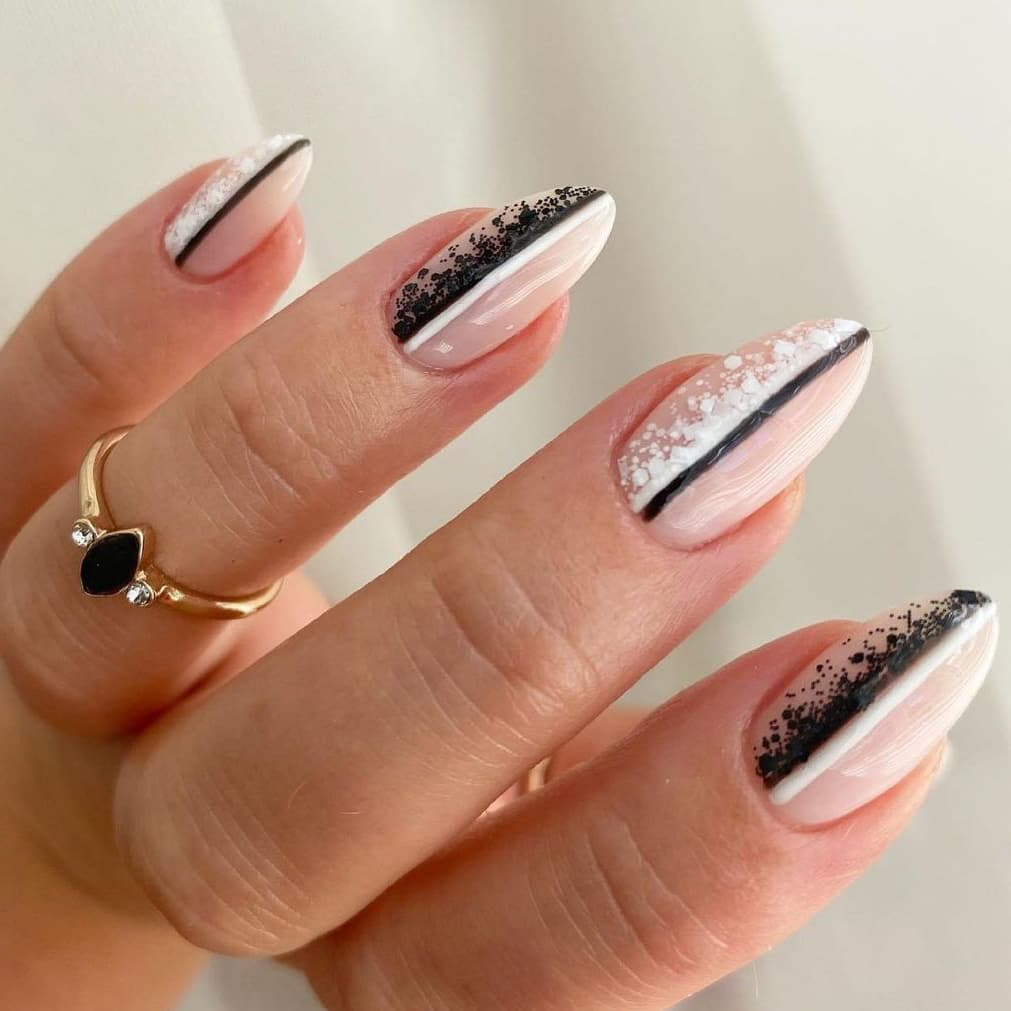 Beautiful black and white nails