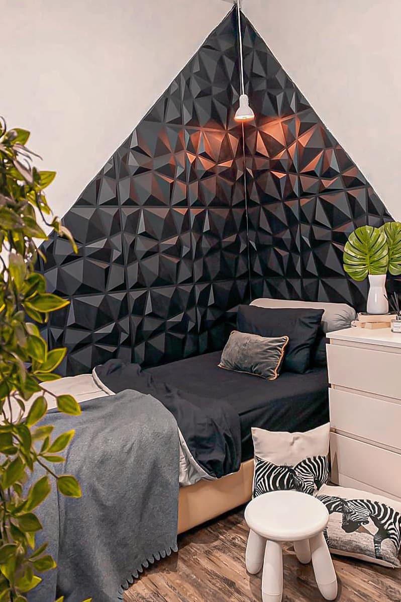 Creative bedside wall
