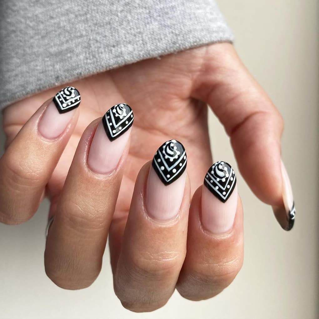 Creative black and white nails
