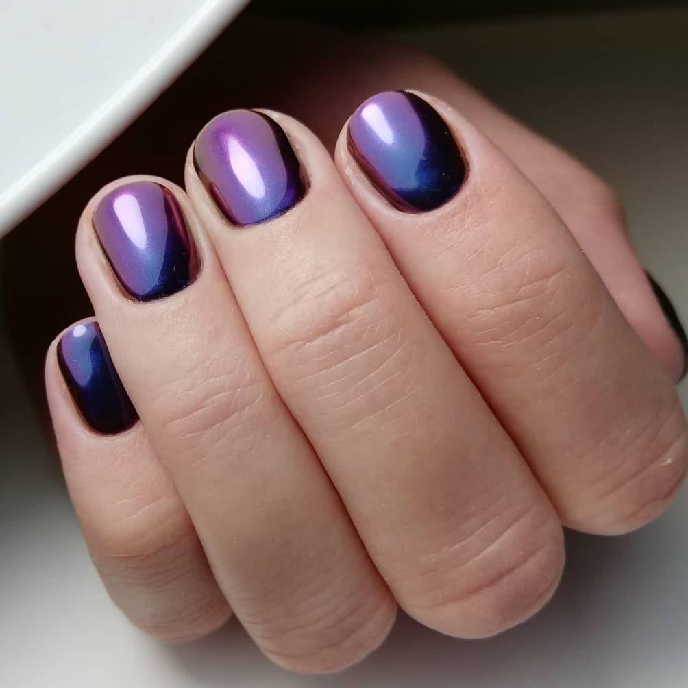 Deep purple autumn nails