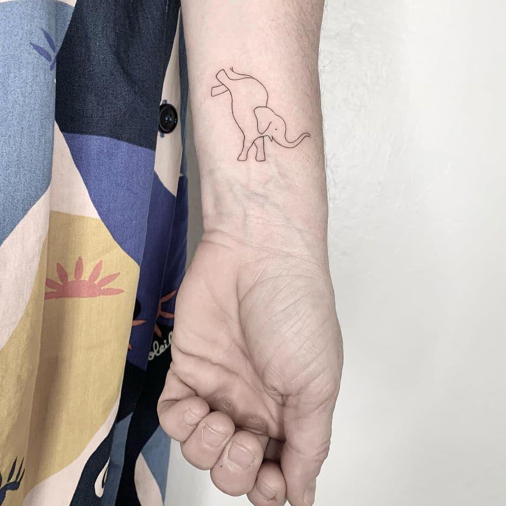 Elephant line tattoo