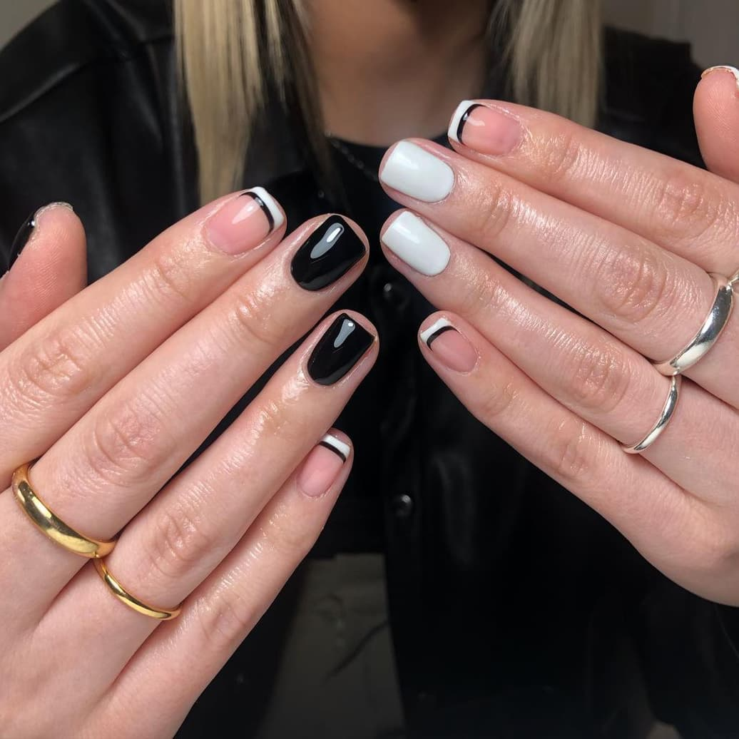 French black and white nails