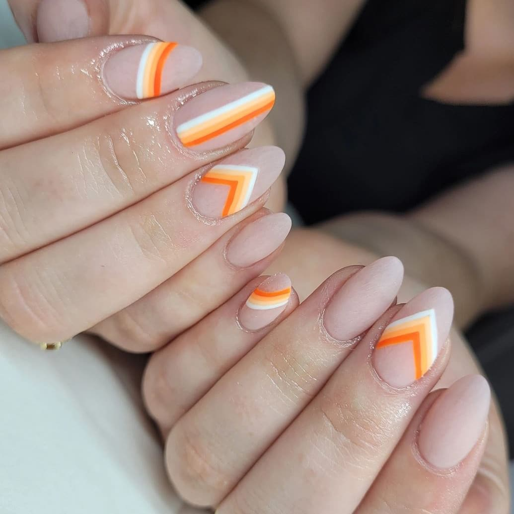 Geometric orange nails