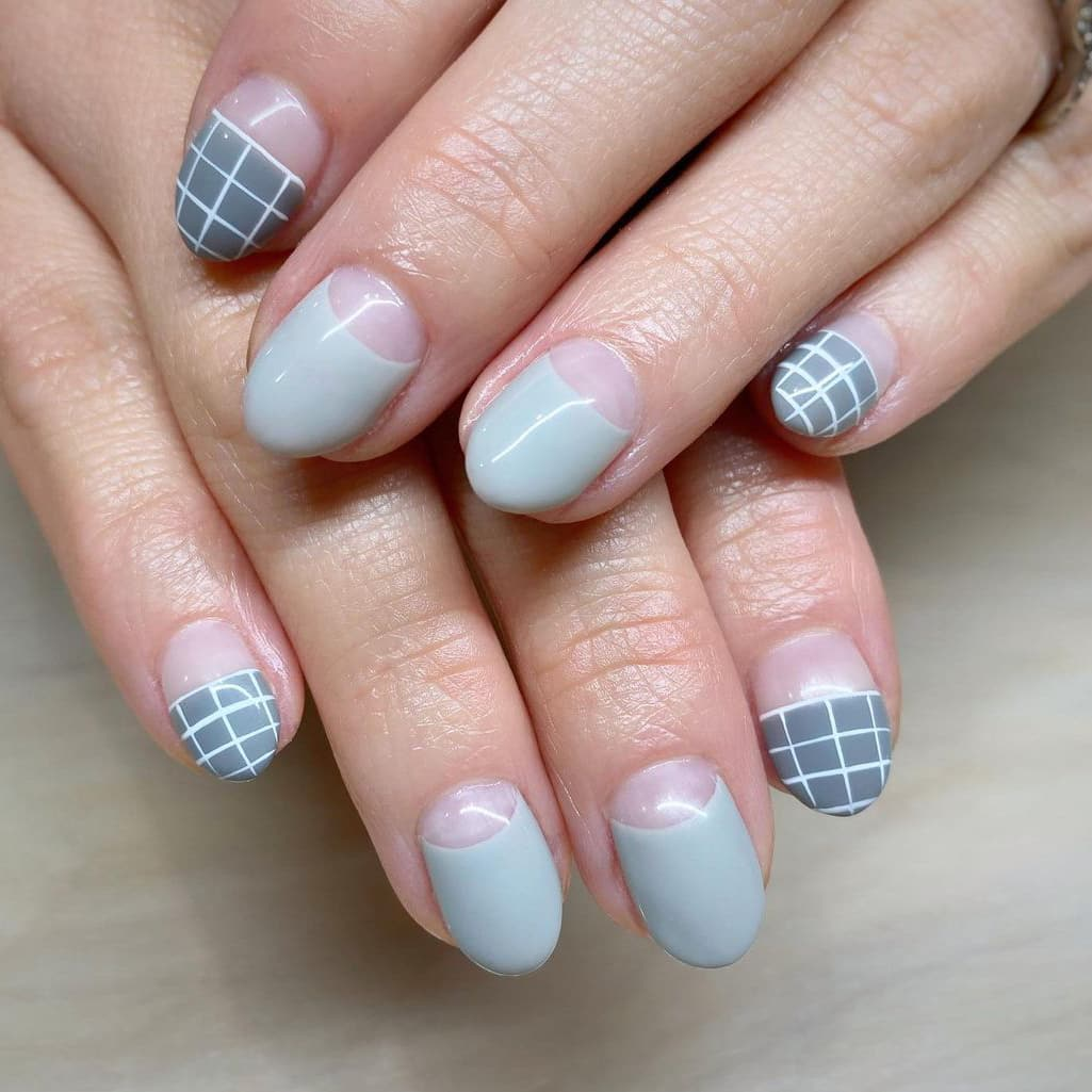 Gray Negative Space Nails