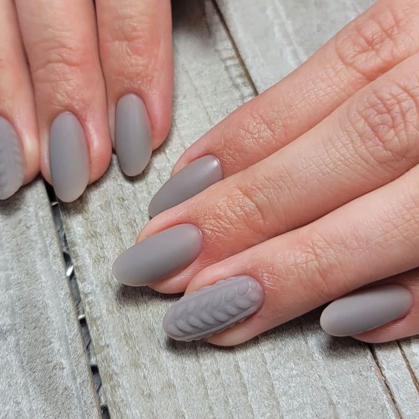 Gray almond nails