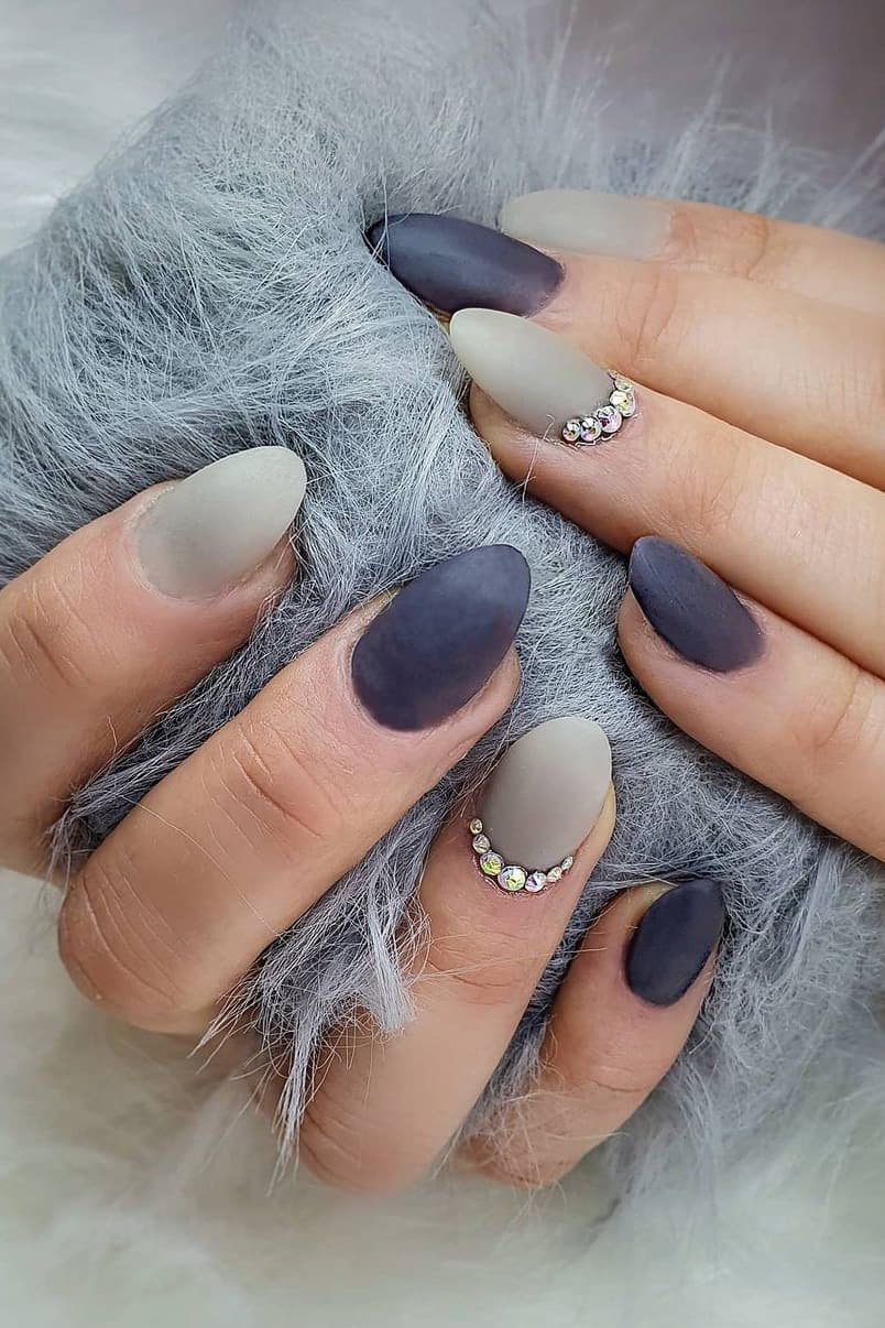 Gray and blue matte nails