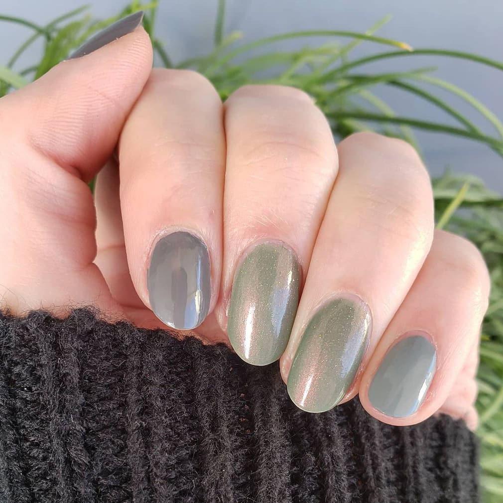 Gray and green nails