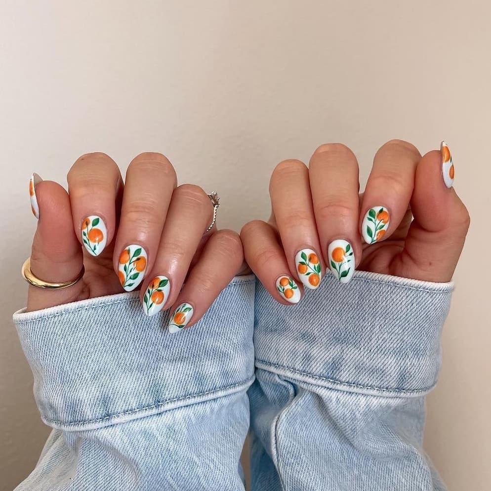 Hand-painted orange nails