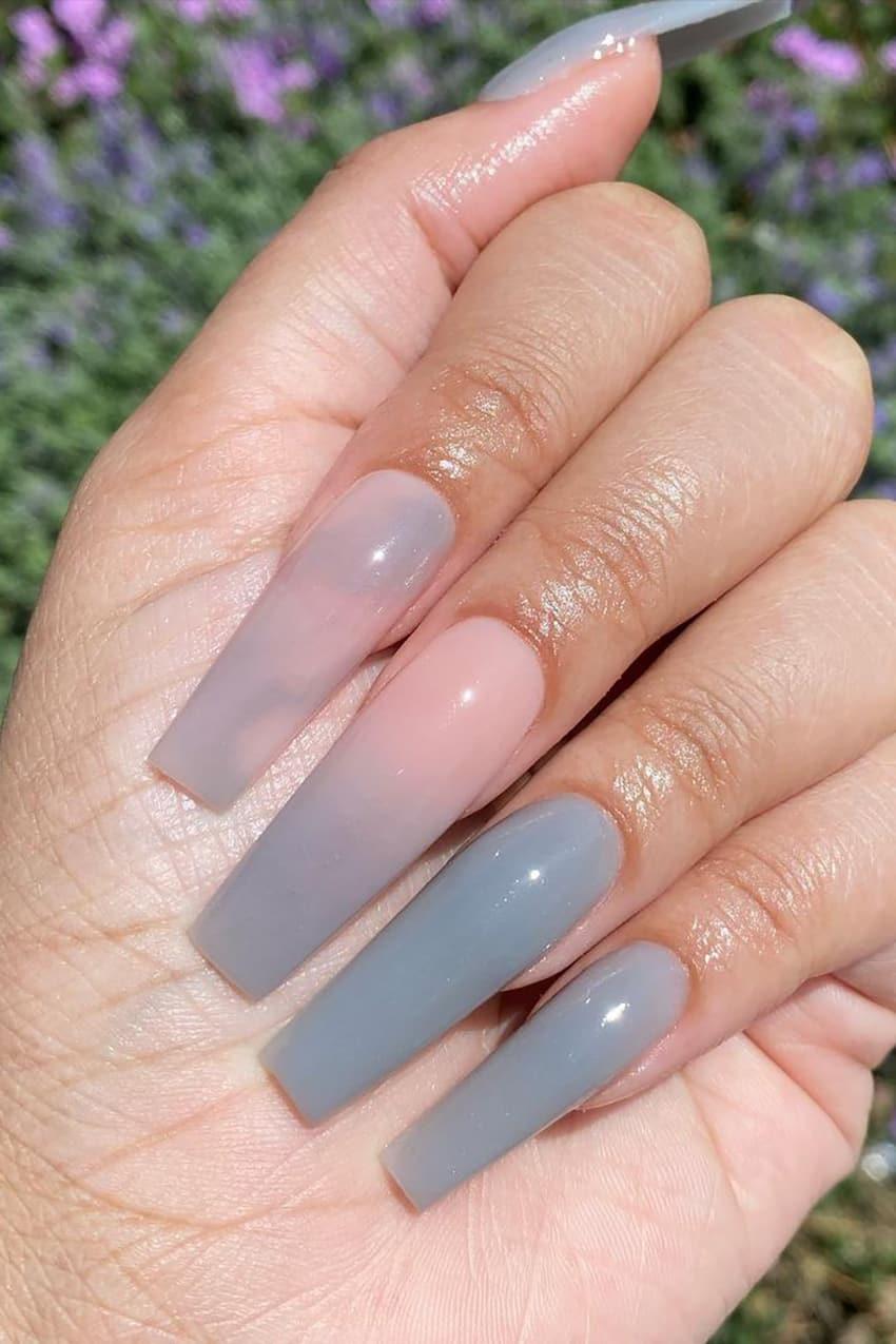 Long gray nails