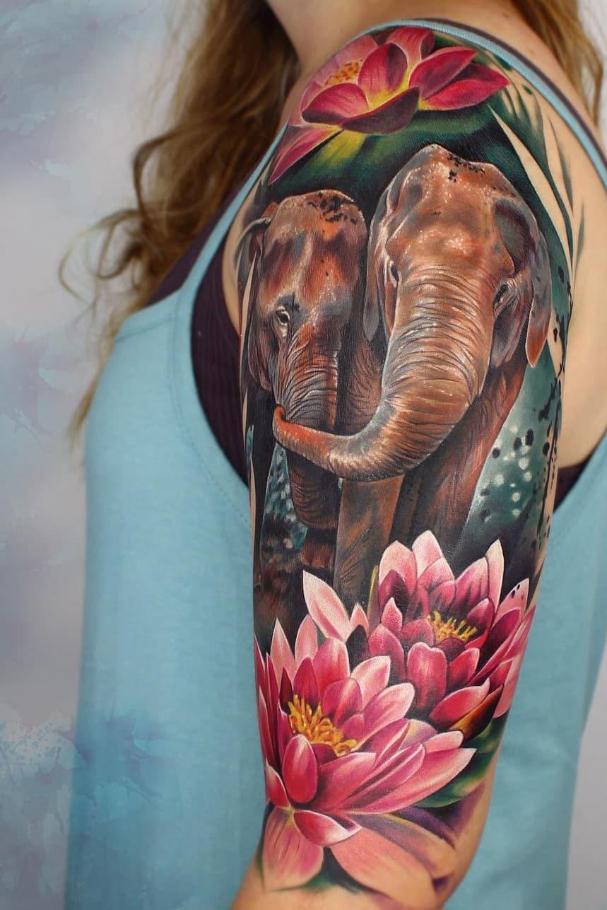 Lotus Elephant Tattoo