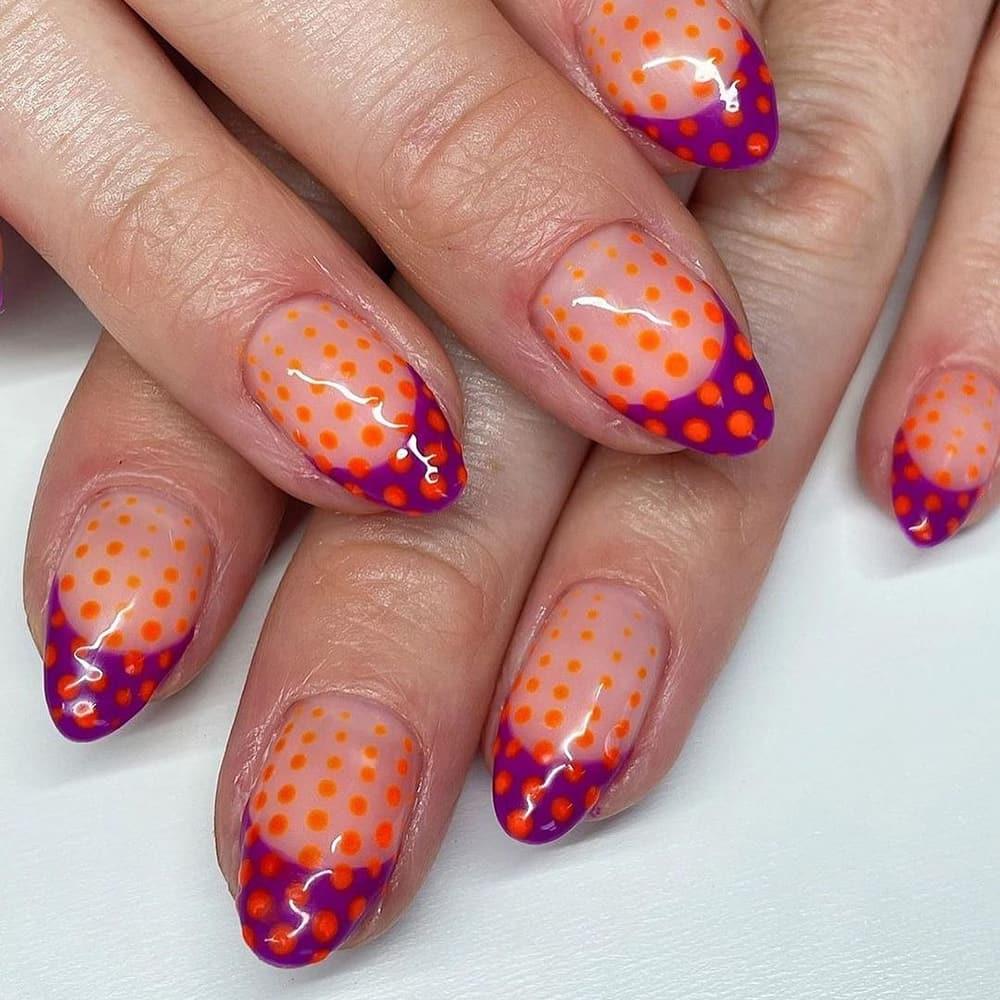 Orange Dot Nails