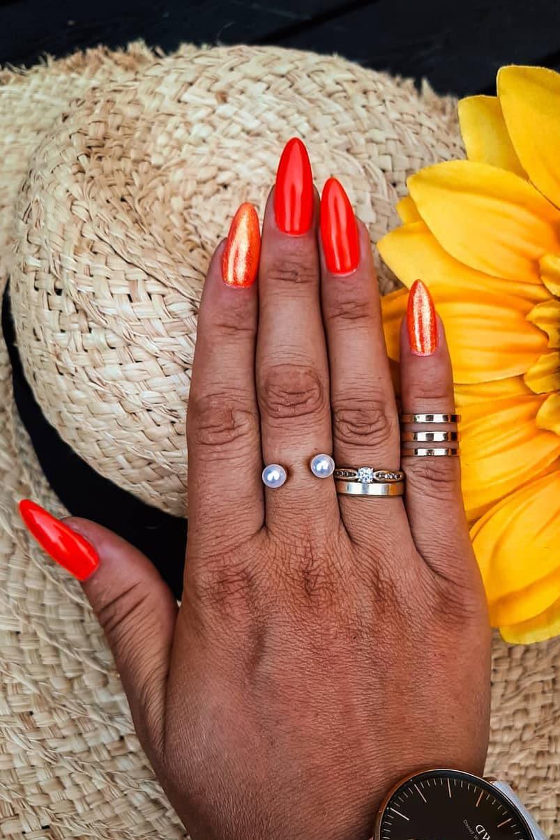 Orange almond nails