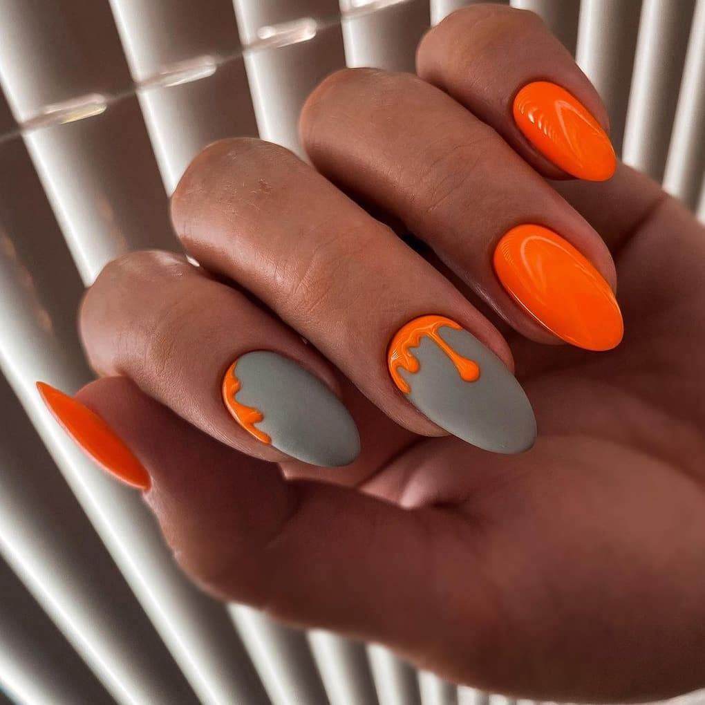 Orange and gray nails