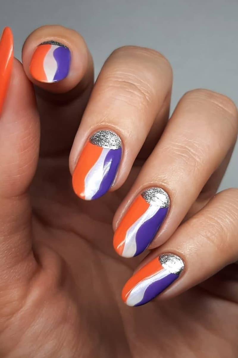 Orange and purple nails