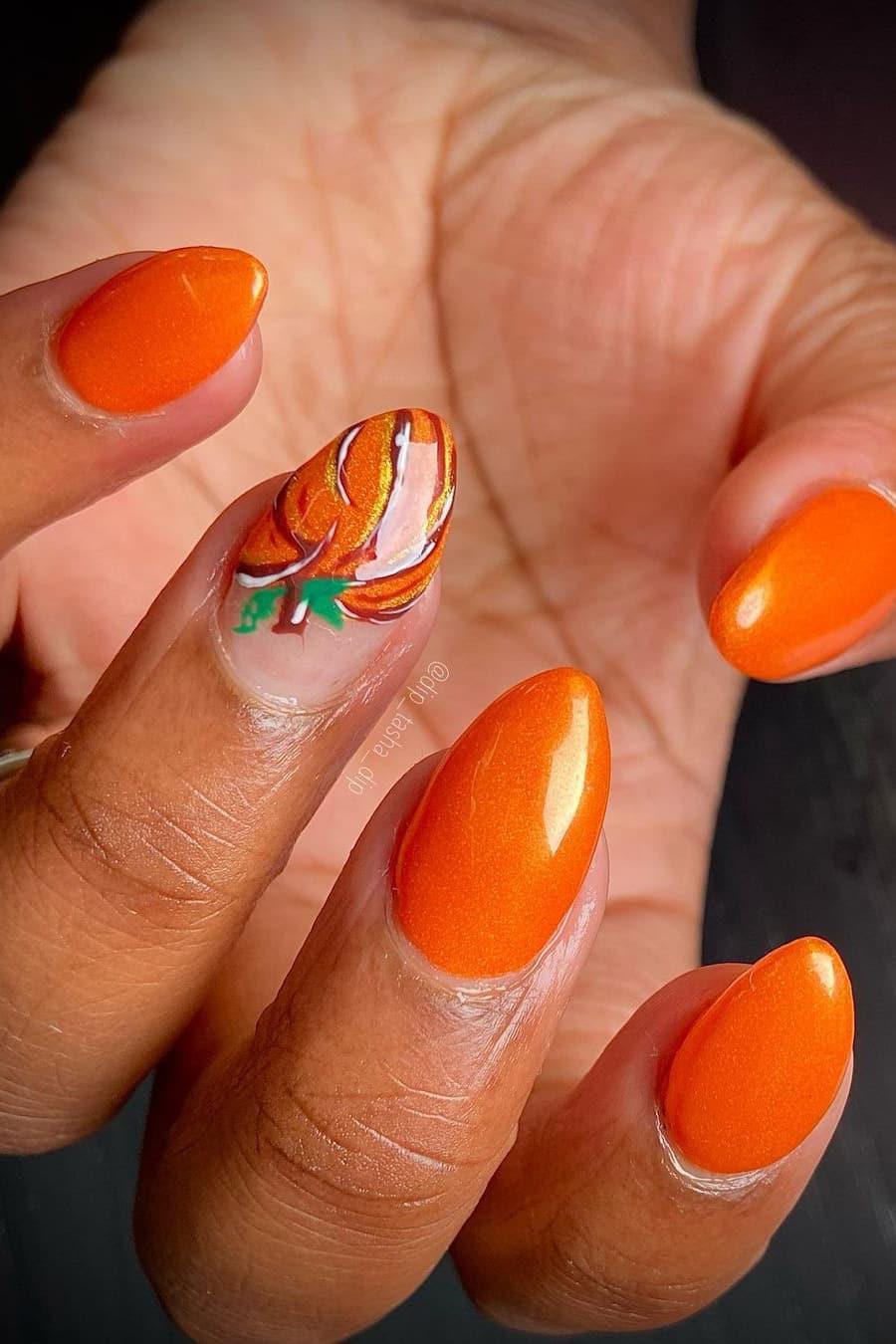 Orange pumpkin nails