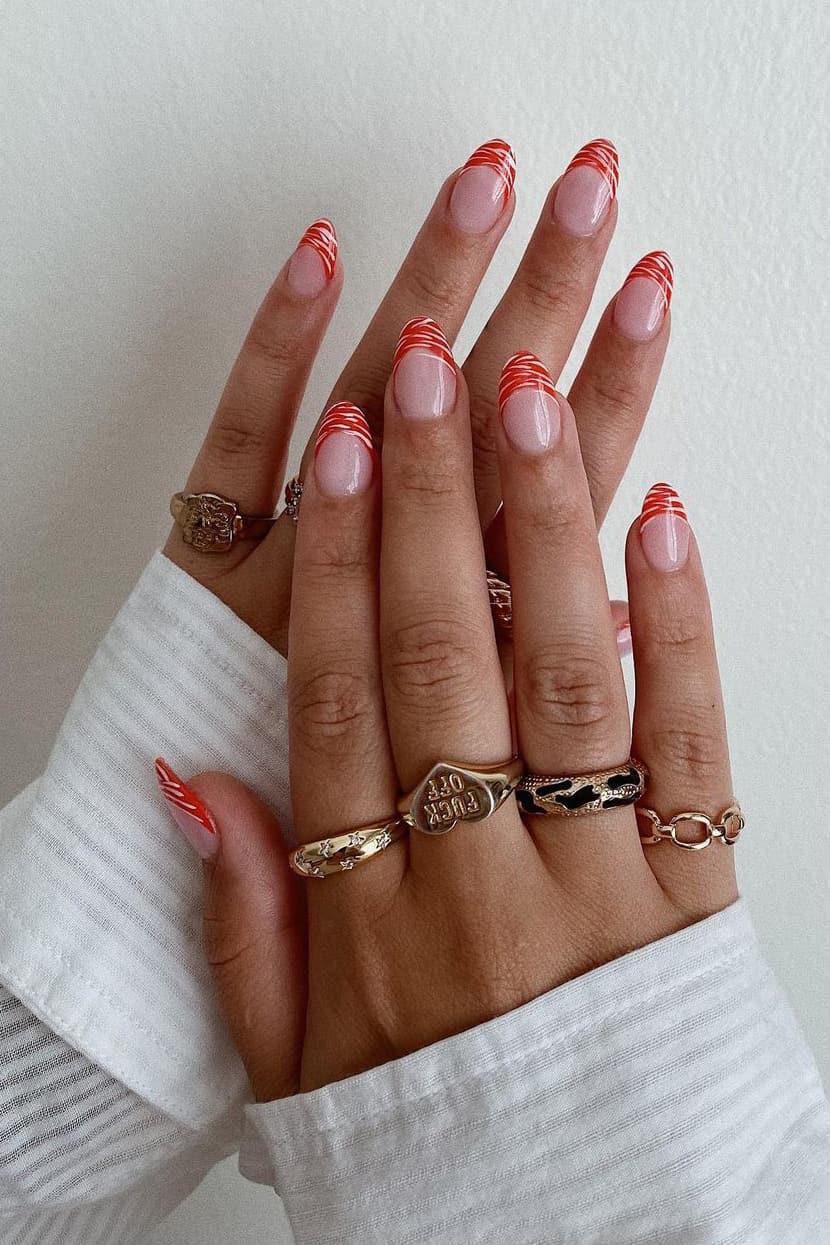 Orange zebra nails