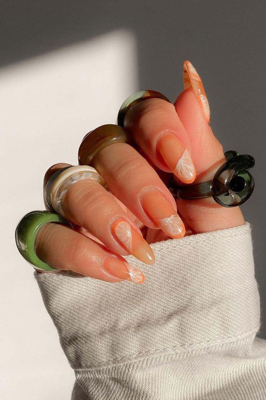 Realistic orange nails