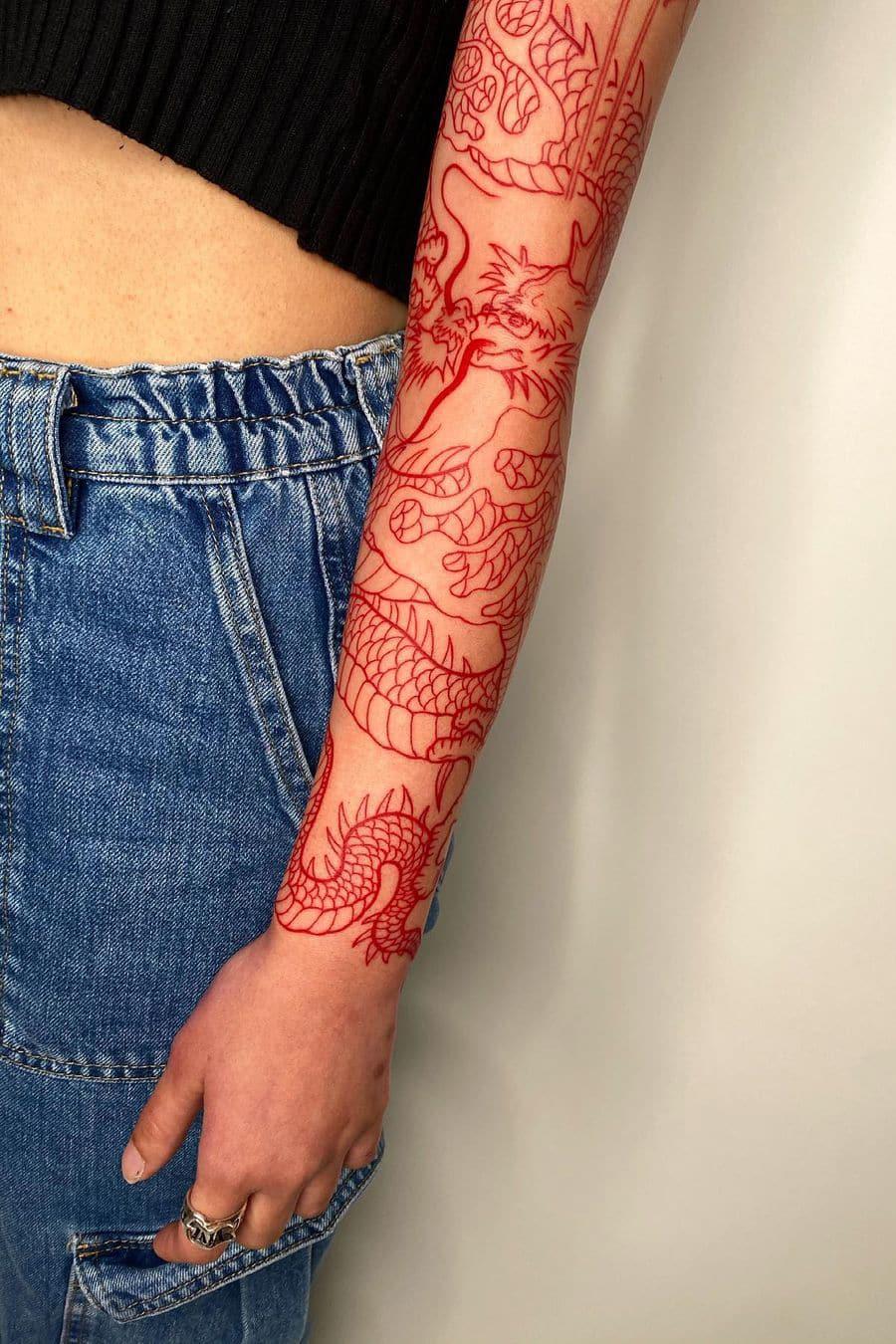 Red Dragon Sleeve Tattoo