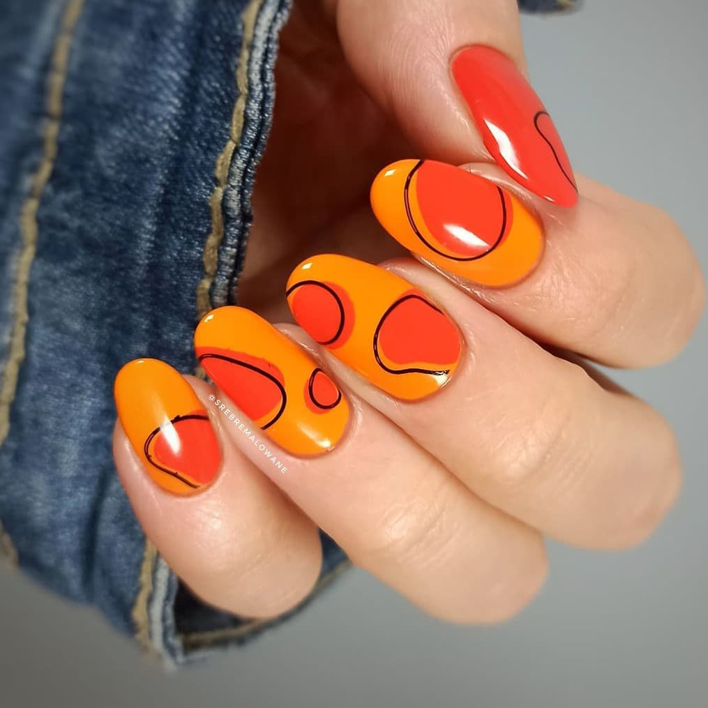 Simple abstract orange nails