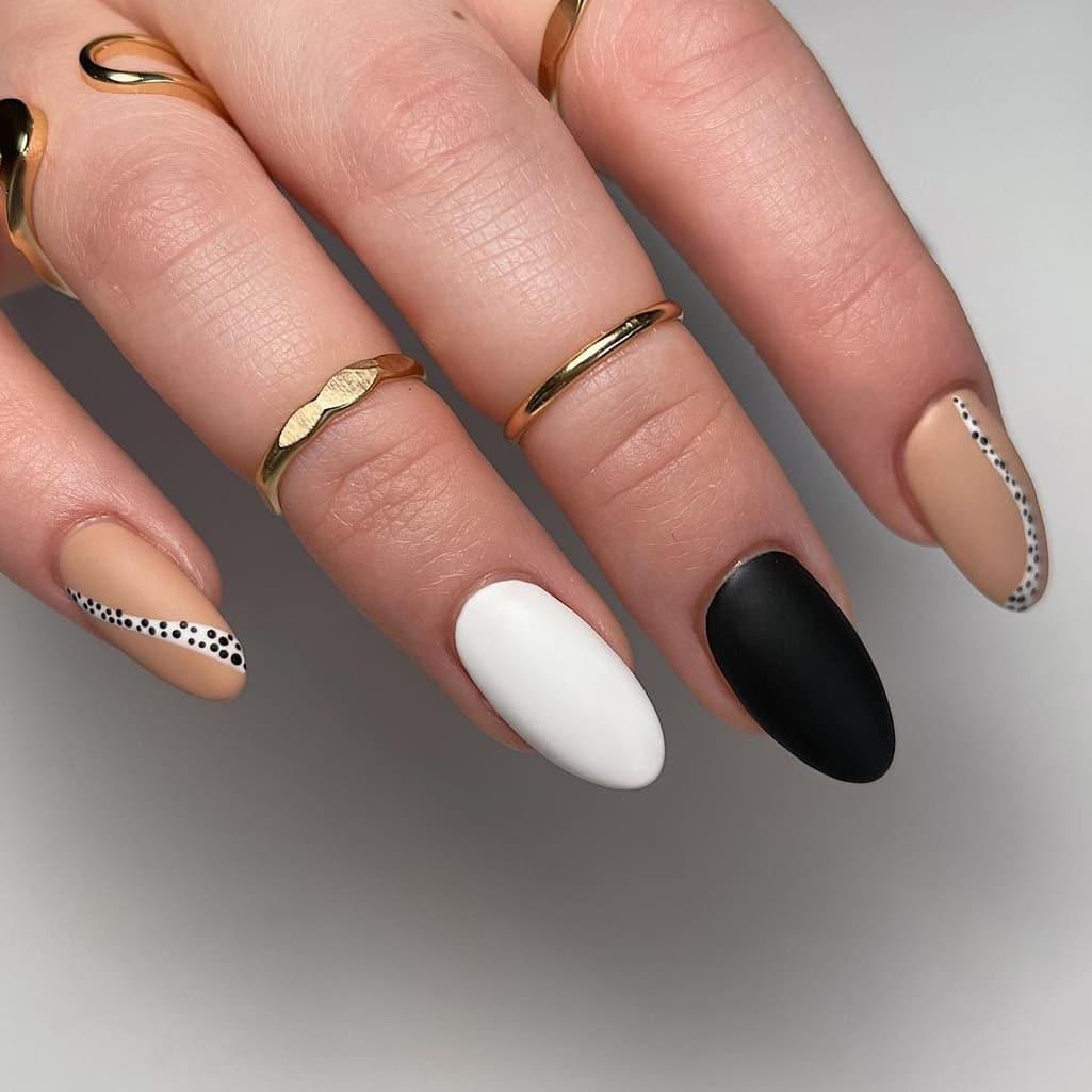 Soft black and white nails