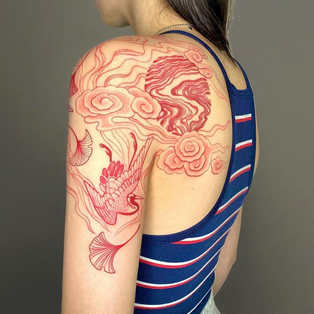 Stunning red tattoo