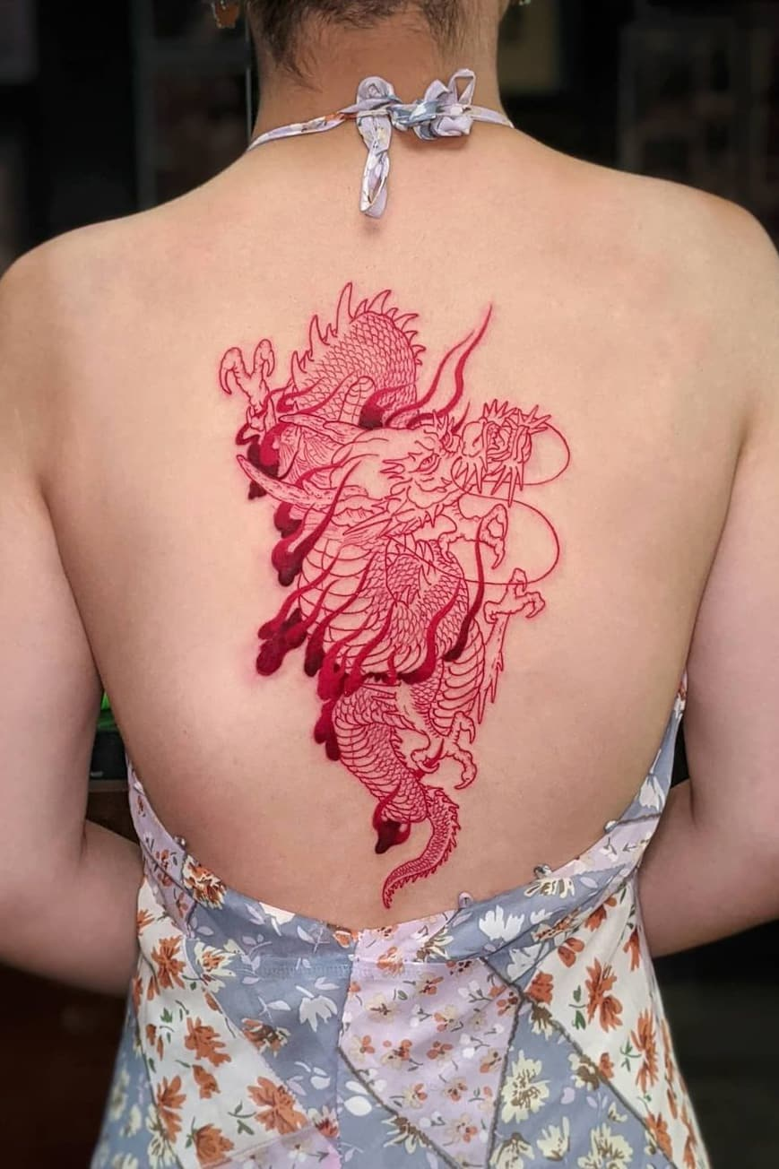Fastest Red Chinese Spine Tattoo