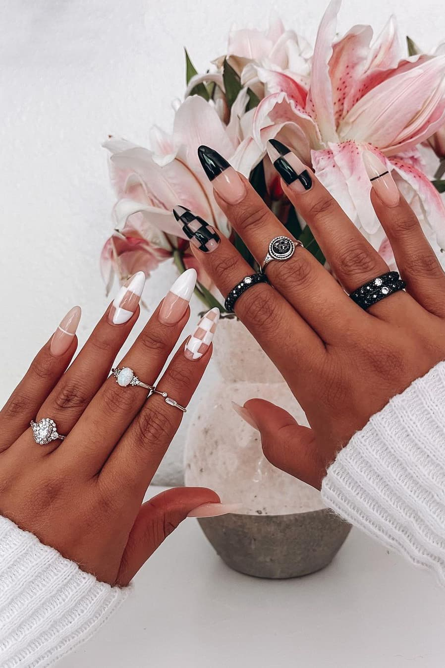 Trendy black and white nails